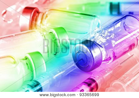Tuberculin Syringe And Sterile Vial Filled With Medication Solution.