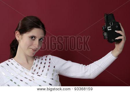 Woman Shouting Holding A Camera