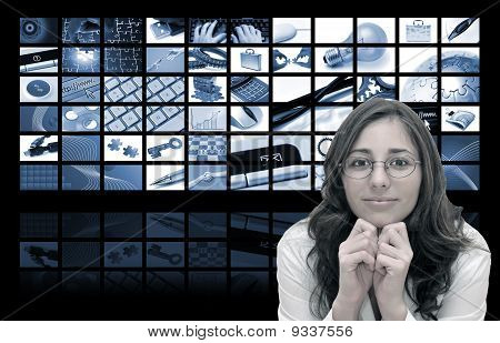 Business Woman And Technology Composition