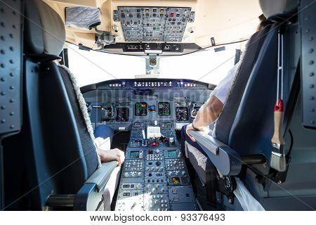 Interior of airplane cockpit.