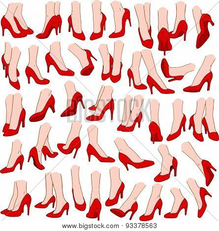 Woman Feet With Red High Heel Shoes Pack
