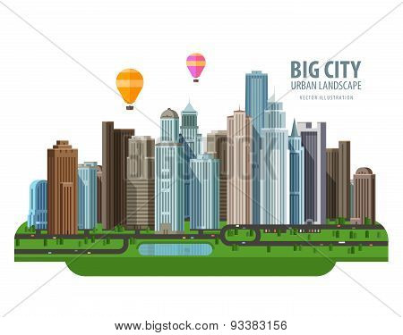 Big city vector logo design template. Construction, building or real estate icon.