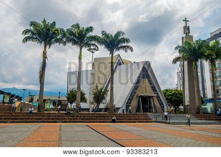Important city landmark located in the main square Plaza Bolivar of Armenia, Colombia