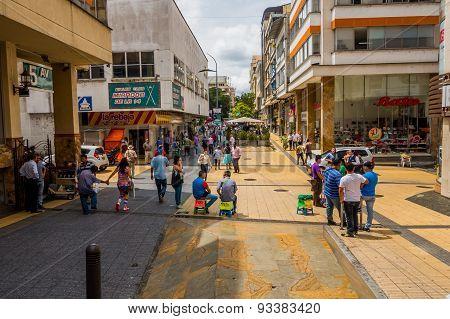 Important commercial street one of the city landmarks Centro Comercial de Cielos Abiertos in Armenia