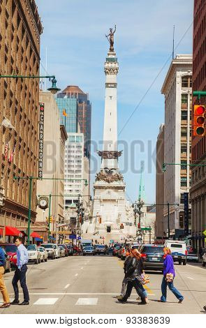 Downtown Of Indianapolis With The Sailors And Soldiers Monument