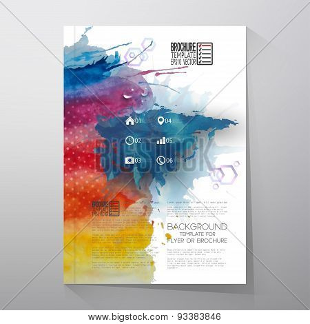 Abstract hand drawn watercolor background with place for text message, Eurasia map element, great composition for your design. Brochure or flyer vector illustration template poster