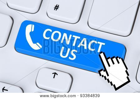 Contact us calling service customer hotline telephone symbol on computer keyboard poster