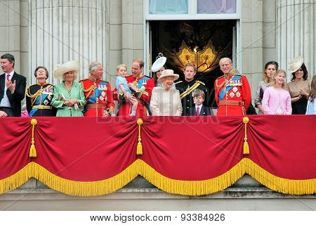 LONDON, ENGLND, UK - JUNE 13 2015: The Royal Family appears on Buckingham Palace balcony during Troo