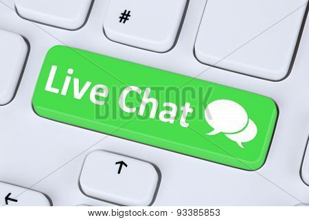 Live Chat Contact Communication Service Symbol On Computer Keyboard