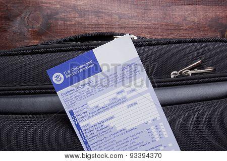 Customs Declaration On A Road Suitcase