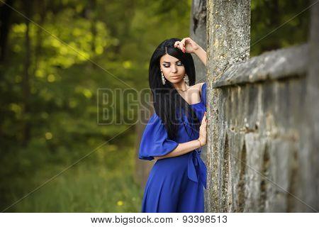 Portrait Of Sensual Fashion Woman In Blue Dress Outdoor