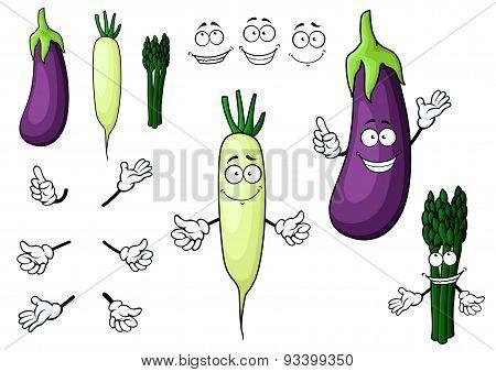 Eggplant, white radish, asparagus vegetables