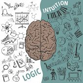Creative brain Idea. Vector concept. Left and right brain functions, Human brain concept poster