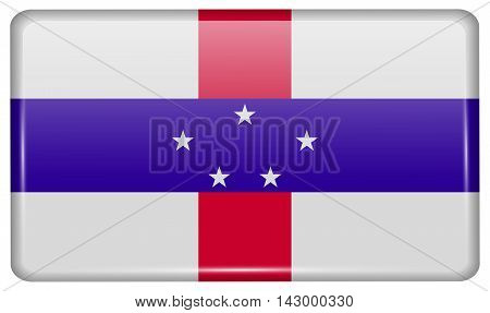 Flags Netherlands Antilles In The Form Of A Magnet On Refrigerator With Reflections Light. Vector