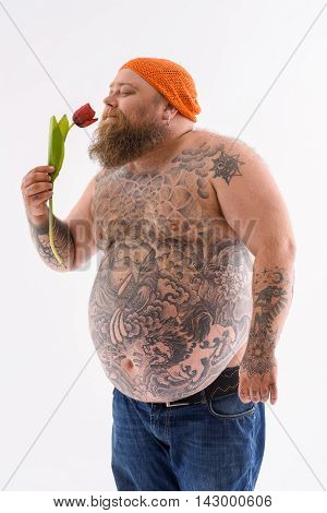 Happy fat man is holding tulip and smelling it with pleasure. He is standing and smiling. Isolated