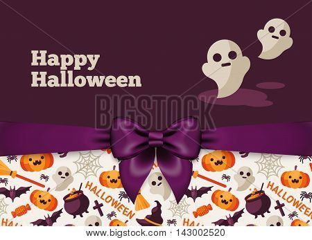 Halloween Postcard Design with Violet Silky Bow Ribbon and Pattern. Vector Illustration. Ghost Cute Character.