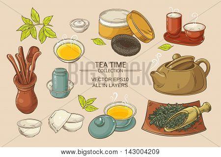 Tea ceremony vector set on color background