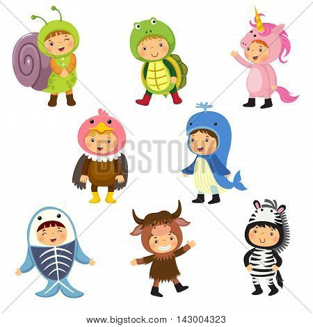 Set of cute kids wearing animal costumes. Snail turtle unicorn vulture whale x-ray fish yak zebra.