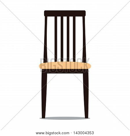 Vector colorful illustration of beige colored chair with backrest in flat style isolated on white background furniture for an interior living room.