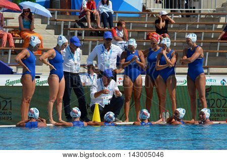 Budapest, Hungary - Jul 16, 2014. CONTI Fabio italian head coach talking about the tactics. The Waterpolo European Championship was held in Alfred Hajos Swimming Centre in 2014.