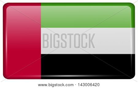 Flags United Arab Emirates In The Form Of A Magnet On Refrigerator With Reflections Light. Vector
