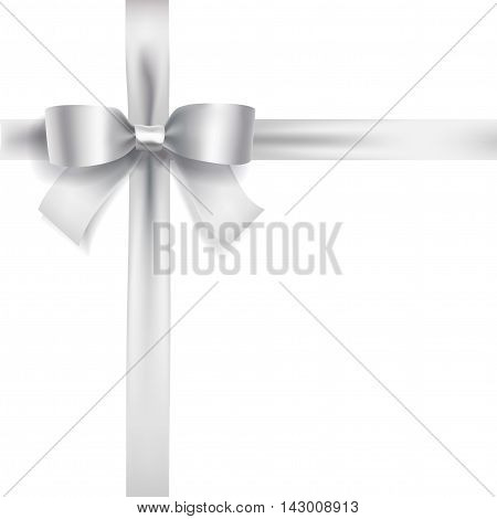 silver bow ribbon knot on white. vector