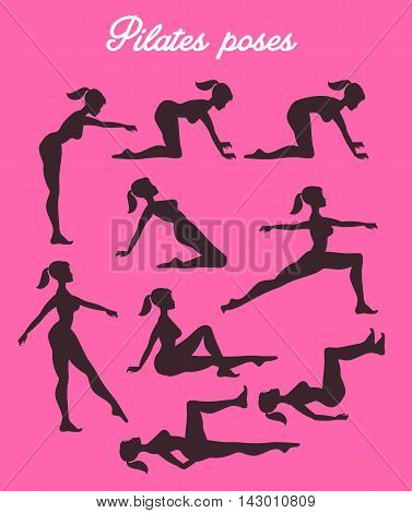 Vector pilates illustration. Pilates poses.Female exercising silhouette