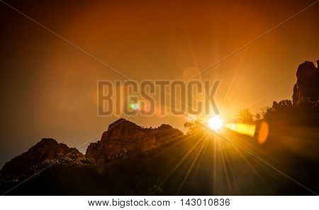 Sunset in Grand Canyon National Park Arizona with under and over exposure style