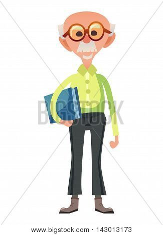 Smart old professor standing and holding paper folder. Funny cartoon senior man in glasses and with mustache. Isolated on white background.