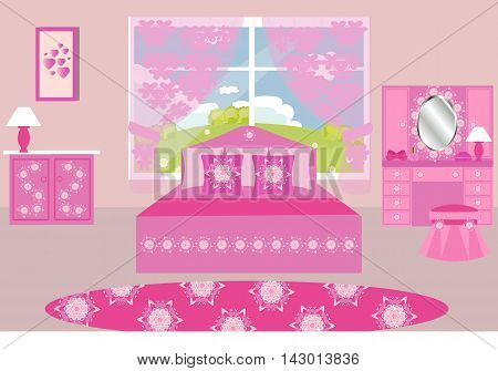 Bedroom interior, pink, vector illustration, bed, dresser, mirror, lamp, curtains , carpet