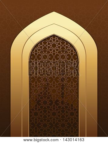 Islamic doorway view Arabian night. Islamic pattern for Muslim celebration. Arch in the mosque. Islamic architecture. Vector illustration