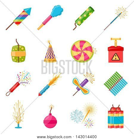 Pyrotechnics festival flat icons set with colorful firework crackers of different shape isolated on white background vector illustration