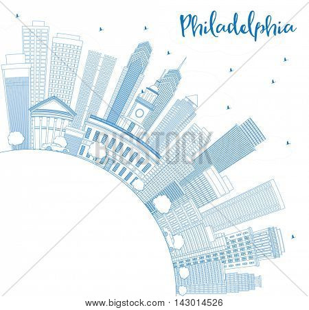Outline Philadelphia Skyline with Blue Buildings and Copy Space. Vector Illustration. Business Travel and Tourism Concept with Philadelphia City Buildings. Image for Presentation Banner Placard