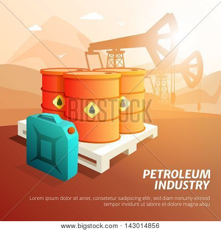 Petroleum industry facilities composition isometric poster with oil storage tanks canisters and containers background vector illustration