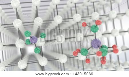 Benzol chemical molecules micro background. 3D illustration