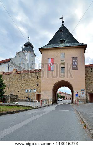 LEVOCA SLOVAKIA - AUGUST 18 2015: Kosice Gate in central Levoca in Slovakia.