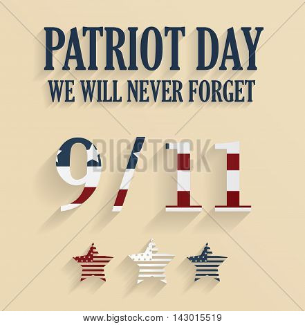 9/11 poster. Patriot Day. Never forget. Vector illustration.