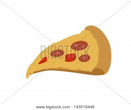 Pizza banner. Italian snack with cheese and tomatoes. Slice of pizza. Junk food. Consumption of high calories nourishment fast food. Part of series of promotion healthy diet and good fit. Vector