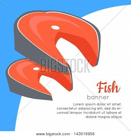 Fish banner. Healthy food concept. Organic natural food. Consumption of high quality nourishment food. Part of series of promotion healthy diet and good fit. Vector illustration