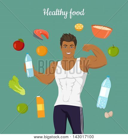 Healthy food concept. Sportive man after diet. Balanced nutrition, consumption of organic food. Fitness and sport, right way of life. Part of series of promotion healthy diet and good fit. Vector