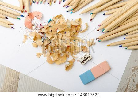 the colored pencils eraser and pencil sharpener