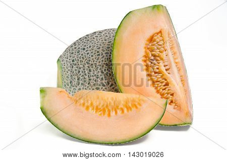 Sliced Melon With Seed On White (other Names Are Cantelope, Cantaloup, Honeydew, Crenshaw, Casaba,