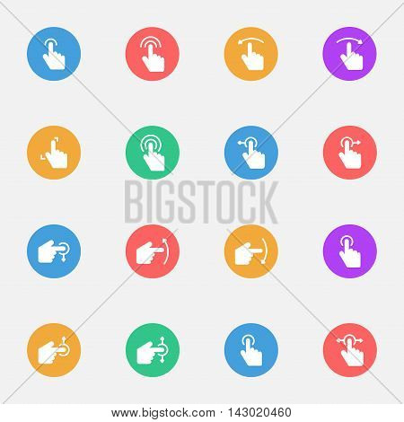 Touch Gesture and Sensory Flat Icons Set