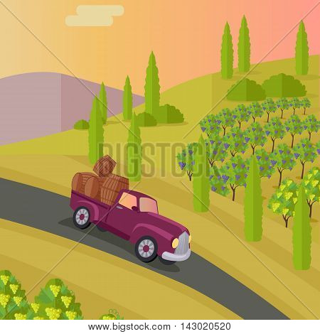Track carries baskets with grape for wine production. Vineyard plantation of grape-bearing vines, grown for winemaking, raisins, table grapes and non-alcoholic juice. Vinegrove green valley. Vector