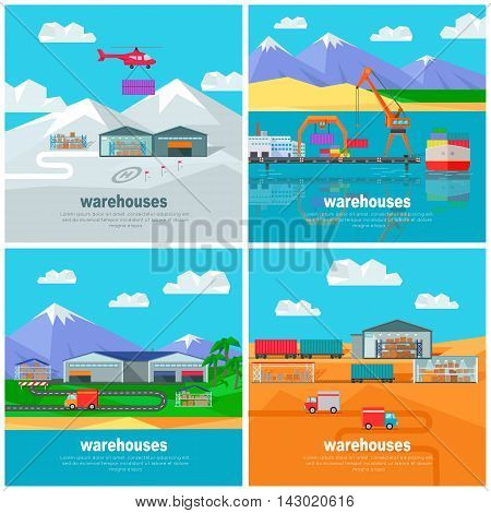 Warehouse worldwide design flat. Logistics container shipping and distribution. Transportation by water in the mountains in the desert and in the snow. Loading and unloading boxes. Vector illustration