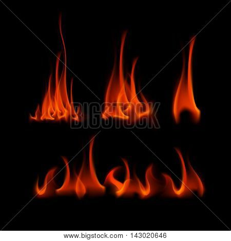 Vector Set of  Different Red Scarlet Fire Flame Bonfire  Isolated on Background