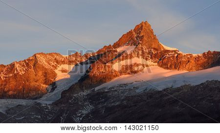 High mountain in Zermatt Swiss Alps. Mt Zinalrothorn. Morning scene.