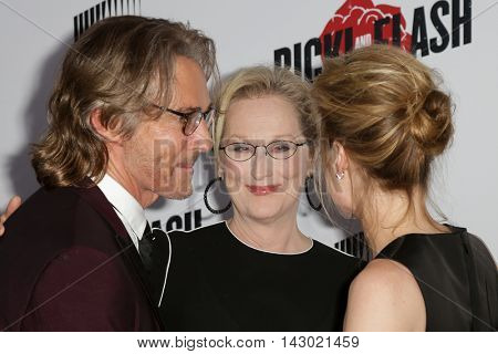 NEW YORK-AUG 3: (L-R) Actors Rick Springfield, Meryl Streep and Mamie Gummer attend the 'Ricki And The Flash' New York premiere at AMC Lincoln Square Theater on August 3, 2015 in New York City.