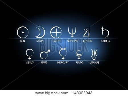 Set astronomical symbols of planets white on black with blue background.