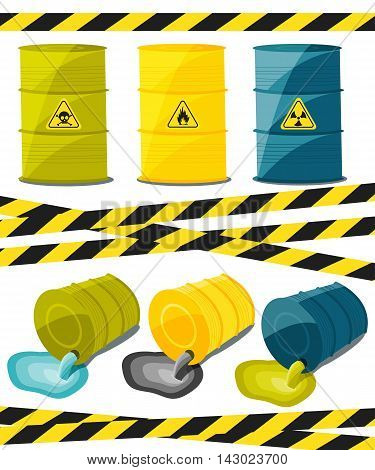 Containers with explosive and reactive substances waste of chemical industry. Flow of dangerous toxic chemicals. Oil. Vector illustration